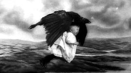 The raven snatches the baby